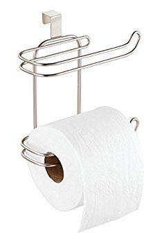 mDesign sobre el tanque del inodoro Satinado Porta rollo de papel higi/énico; para almacenamiento en el cuarto de ba/ño