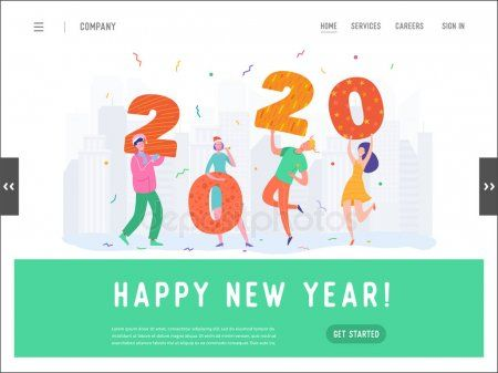 Landing Page Template New Year Party Concept Illustration Woman And Man Charact Sponsored Y Merry Christmas Greetings New Years Party Christmas Greetings