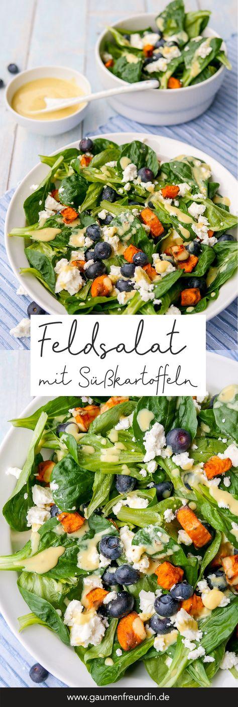 Winterlicher Feldsalat mit gebackenen Süßkartoffeln, Heidelbeeren, Feta und einem schnellen Honig-Senf-Dressing GAUMENFREUNDIN FOODBLOG #salat #rezept #feldsalat #gesund #schnell #lowcarb #süßkartoffeln #heidelbeeren #healthy