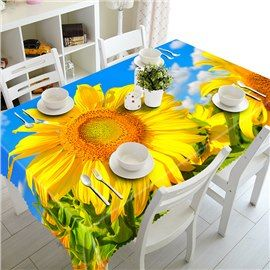 Fresh Polyester Sunflowers Pattern 3d Tablecloth Table Cloth Round Wedding Tables Table Covers