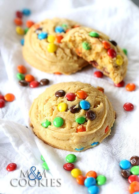 MandM Cookies...perfectly thick and soft and make extra yummy with pudding mix!