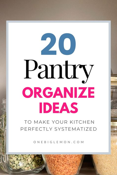 You don't need to invest a lot of money to have a perfectly organized pantry in a day with a few hacks. You can easily make your own small kitchen walk-in pantry with some cheap dollar store accessories. Follow these 20 pantry organization ideas are easy and simple. #kitchen #organization #home #homehacks