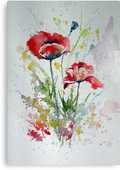 Kleine Mohnblumen Leinwanddruck With Images Watercolor Poppies Watercolor Paintings Easy Watercolor Flowers