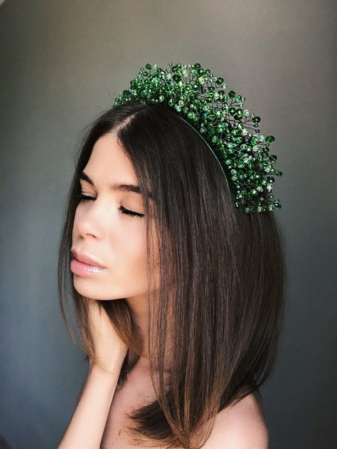 crystal headpiece, crystal tiara, green crown, tiara, green tiara, fairy crown, green headdress, elf