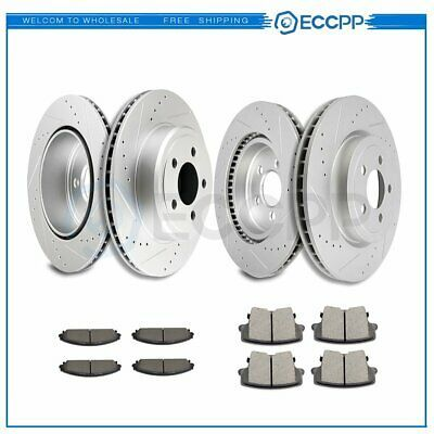 Fit 2012 Ford Fusion Rear Cross Drilled Coateded Brake Rotors Ceramic Pads
