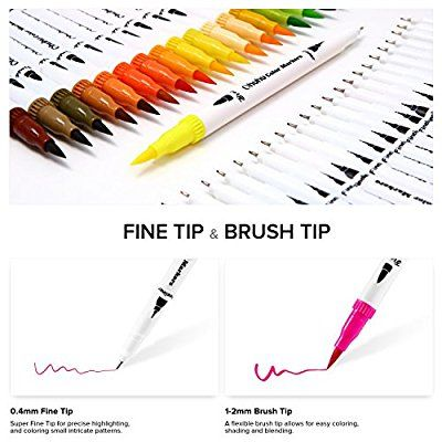 Amazon Com Ohuhu Art Markers Dual Tips Coloring Brush Pen Fineliner Color Pens 60 Colors Of Water Based Marker Hig Marker Art Coloring Markers Colored Pens