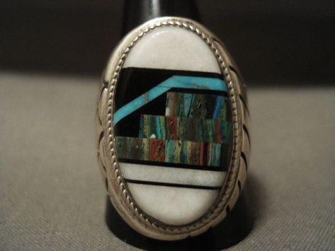 """Museum Vintage Navajo """"Turquoise Inlay Mountain"""" Native American Jewelry Silver ...#american #inlay #jewelry #mountain #museum #native #navajo #silver #turquoise #vintage"""