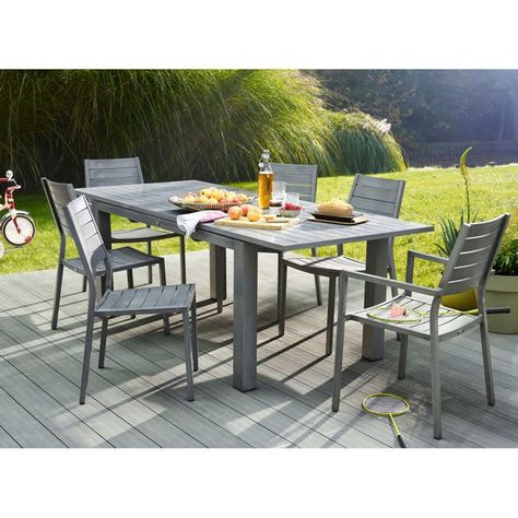 Table de jardin NATERIAL Antibes rectangulaire gris 6/8 personnes ...