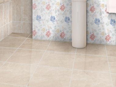 Flores Beige Shiny Ceramic Floor Tile 430 X 430mm Tile Floor Ceramic Floor Tile Bathroom Floor Tiles