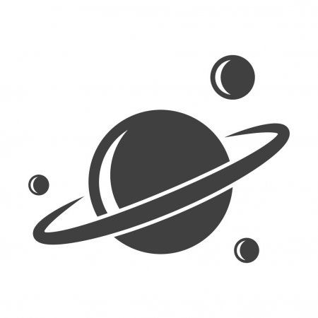 Saturn icon with satellites. Vector on a white background. - Stock ...