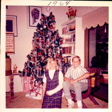 10 year old Christie Brinkley and big brother Greg celebrating Christmas with a cast...
