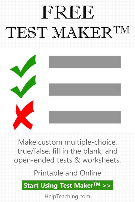 Create tests online with our free Test Maker for teachers and