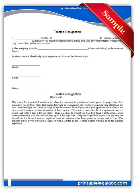 Printable trustee resignation Template PRINTABLE LEGAL FORMS - retirement resignation letters