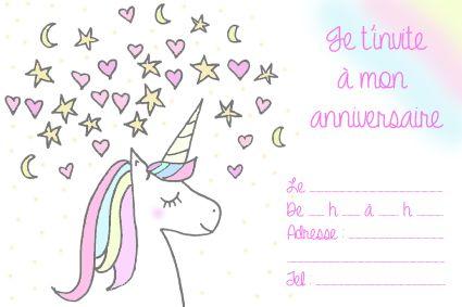 8 cartes invitation anniversaire Licorne Enfants Enfants Anniversaire Invitations