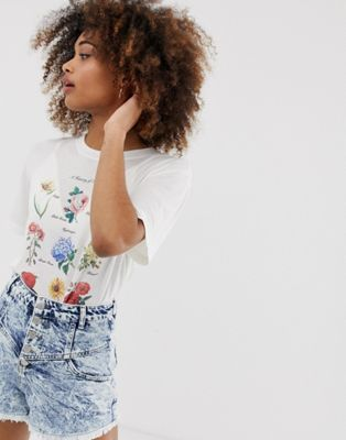 Neon Rose Relaxed T Shirt With Floral Book Print Asos Roll Neck Top Rose T Shirt