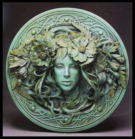 Pair Tree Man and Woman Wall Plaque Mythical Wall Decor Green man Sculpture