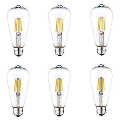 6pack Dc 12 Volt Light Bulb St64 Soft White 3000k 4w Led Edison Filament E26 Screw Base Lamp Low Voltage Fe Cage Pendant Lamp Bulb Pendant Light Retro Lighting