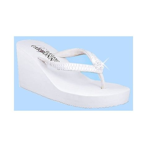 High Wedge Bridal Flip Flop with Sequins and Crystals - White or Ivory found on Polyvore