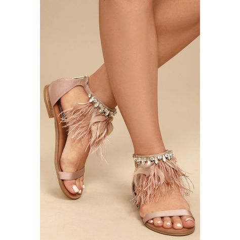 07884d9e7 Steve Madden Adore Blush Feather and Rhinestone Sandals ( 79) ❤ liked on Polyvore  featuring