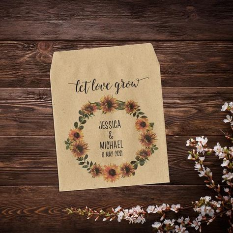 Sunflower Seed Packets, Rustic Wedding Favor, #weddingfavours #seedpackets #seedfavors #weddingfavors #weddingseedfavor #wildflowerseeds #letlovegrow #letlovebloom #weddingseedpackets #rusticwedding #sunflowerseeds #bohemianwedding #rusticweddingfavor
