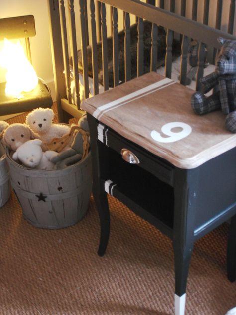 <3 relooking table de chevet tiens, on a la même en moche, une bonne idée à piquer !
