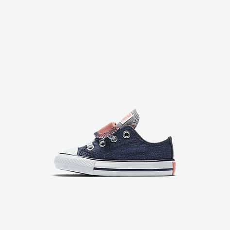 de1e637cd530bd Converse Chuck Taylor All Star Double Tongue Shine and Shimmer Low Top  Infant Toddler Shoe