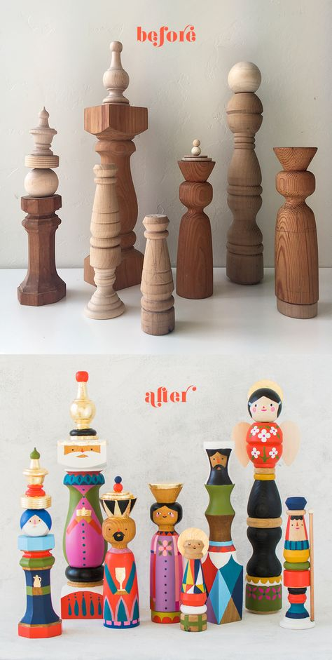 DIY Mid-Century nativity set made with wood finials wood projects craft ideas Mid-Century Heirloom Nativity - The House That Lars Built Retro Christmas Decorations, Vintage Christmas, Christmas Holidays, Christmas Ornaments, Christmas Projects, Magical Christmas, Xmas, Whimsical Christmas, Black Christmas