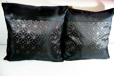 New Pair Of Black Thai Silk 16 Cushion Cover Throw Pillow Case Home Decor Craft Fashion Home Garde In 2020 Black Cushion Covers Silk Pillow Cover Silk Throw Pillows