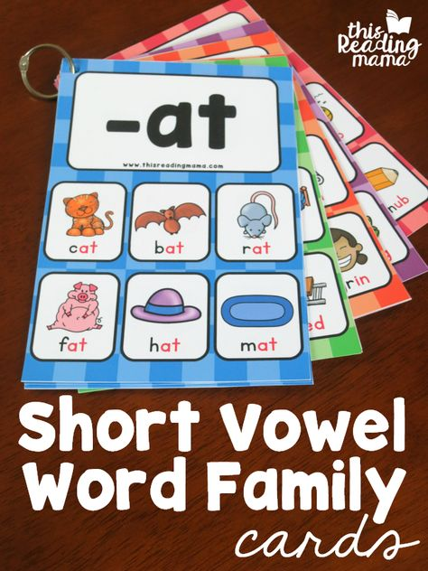 FREE Short Vowel Word Family Cards - support for reading and spelling word family patterns - This Reading Mama # word family activities Short Vowel Word Family Cards - This Reading Mama Word Family Activities, Cvc Word Families, Phonics Activities, Short Vowel Activities, Phonological Awareness Activities, Sight Word Sentences, Rhyming Words, Spelling Words, Sight Words