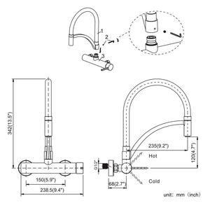 Schwarz Mischbatterie Kuche Wandmontage 180 Drehbar Spule Wasserhahn 2020 Wandarmatur Kuchenarmatur Armaturen
