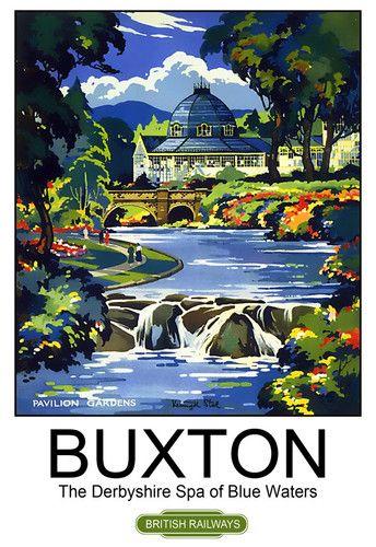 Buxton The Derbyshire Spa of Blue Waters British Railways Travel Poster Print | eBay