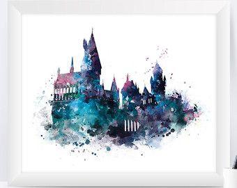 Hogwarts Art Print Hogwarts Schloss Plakat Harry Potter Aquarell