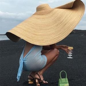 Woman Fashion Large Sun Hat Beach Anti Uv Sun Protection Foldable Straw Cap Cover Oversized Collapsible Sunshade Beach Hat