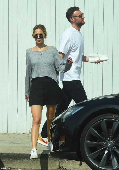 Day date: On Monday, Jennifer Lawrence stepped out for lunch with boyfriend Cooke Maroney...