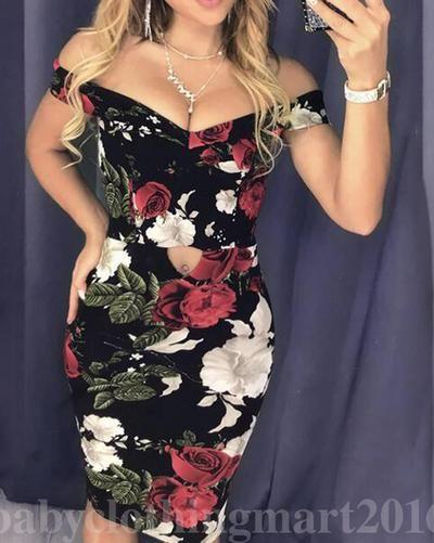 Women Sundress Floral Bodycon Evening Party Clubwear Sleeveless Beach Dress Robe