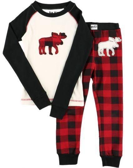 Moose Plaid Family Pajama Set