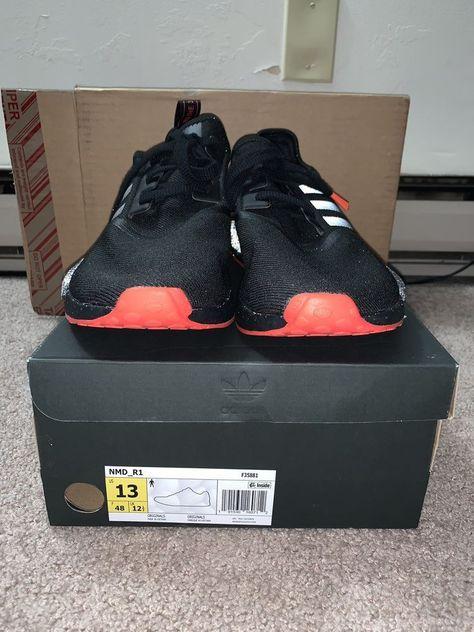 ebay link) Adidas NMD R1 Black Black Solar Red Mens F35881