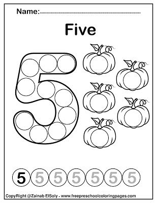 Number 5 Five Do A Dot Marker Activity Fall Autumn Activity For Kids Count From 1 To 10 Pumpkins Dot Marker Activities Dot Markers Free Preschool