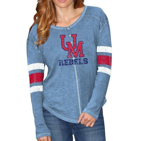 Women S Original Retro Brand Light Blue Ole Miss Rebels Sleeve Striped Henley Long Sleeve T Shirt Size Medium T Shirts For Women Women Sleeve Carolina Blue