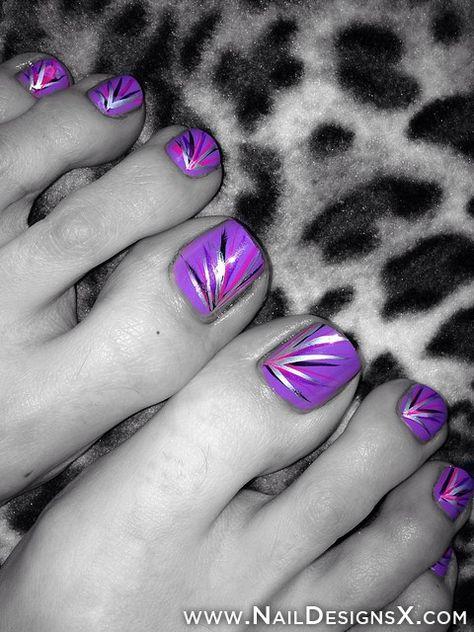 Lilac abstract toe nail art pedi base colour is essie play.
