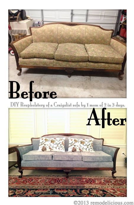 Remodelicious Com Diy Tutorial On Reupholstering An Antique Sofa Could Also Work For Chairs Start To Finish Sofa Reupholstery Antique Sofa Upholstered Couch