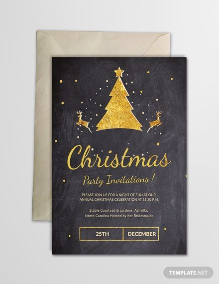 Chalkboard Christmas Party Invitation Template Free Pdf Word Psd Apple Pages Publisher Outlook Party Invite Template Holiday Party Invitation Template Christmas Invitations Template