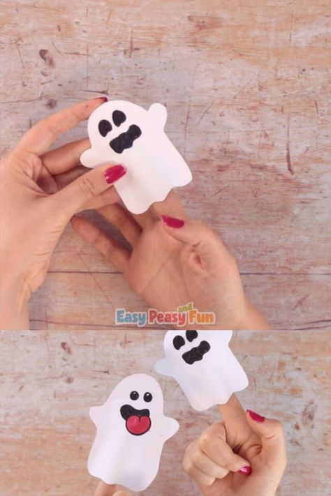 Making your own ghost paper finger puppet is easy peasy, no super skills required and the ghost puppet will be done in a couple of minutes.