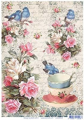 Beautiful pink roses, blue birds and tea cups decoupage rice
