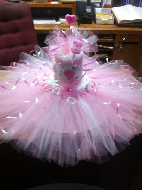 Diaper cake I made for my friends daughters baby shower.