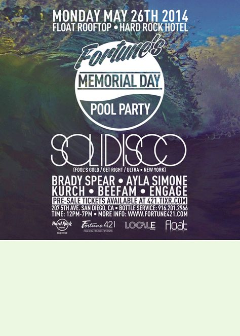 Fortune S Memorial Day Pool Party Tickets By Fortune 421 Pool Party Memorial Day Memories