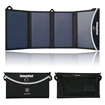 Talentcell 24w Foldable Solar Panel Charger With 3 Port Output Dc 15v And 5v Dual Usb For Charging All Ty Solar Panel Charger Rechargeable Batteries Dual Usb