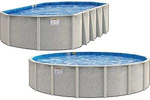 52-Inch Height Wilbar Impressions 12-Foot Round Above-Ground Swimming Pool Bundle with Bedrock Pattern 25 Gauge Overlap Liner and Widemouth Skimmer Resin Protected Steel-Sided Walls