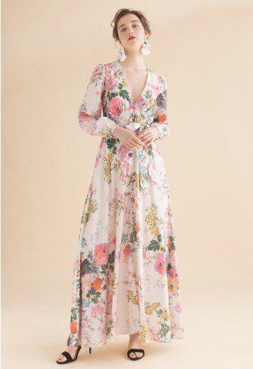 Abiti Eleganti Xs.Only In Dreams Floral Button Down Maxi Dress Beige Xs Vestiti