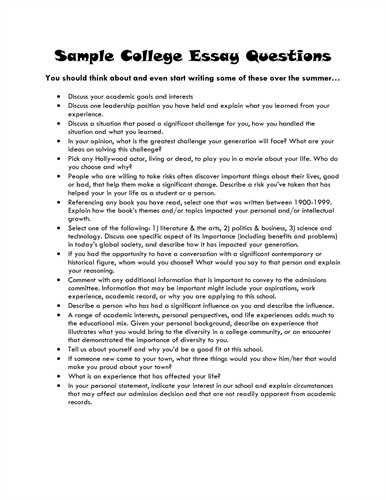 example essay topics for college
